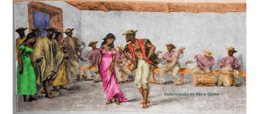 painting of a couple dancing Cumbia