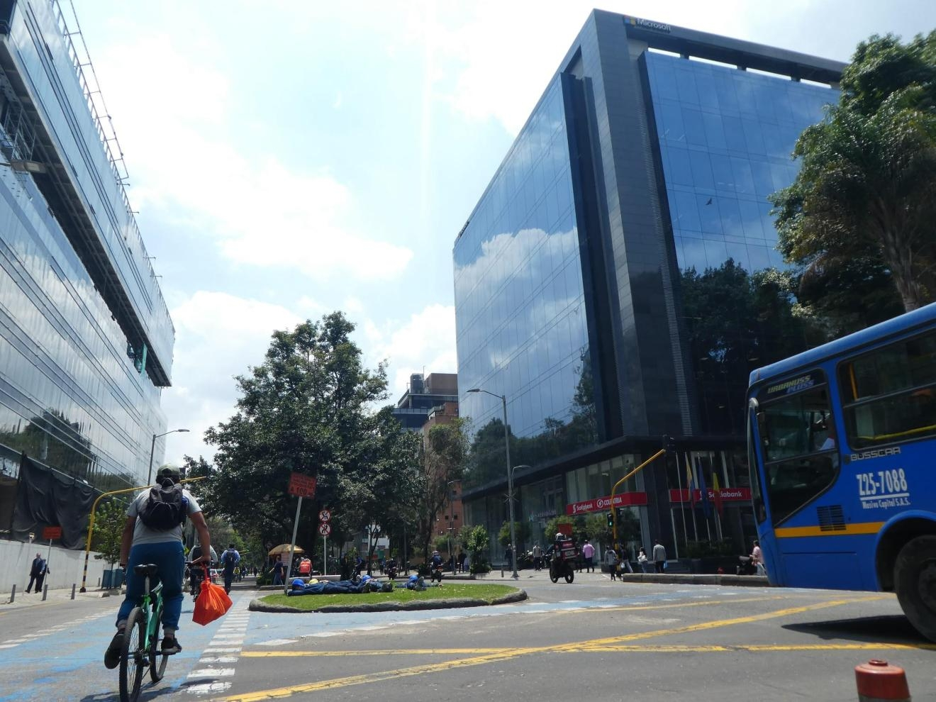 Cyclist on the street in Bogotá