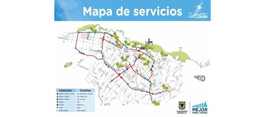 Map of cycling routes in Bogotá