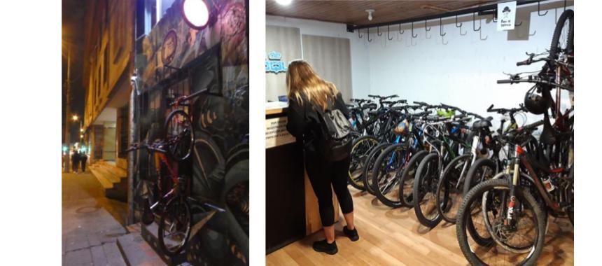 Bike parking in Bogotá