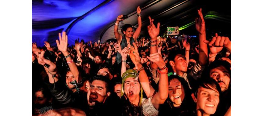Attendees singing in a concert