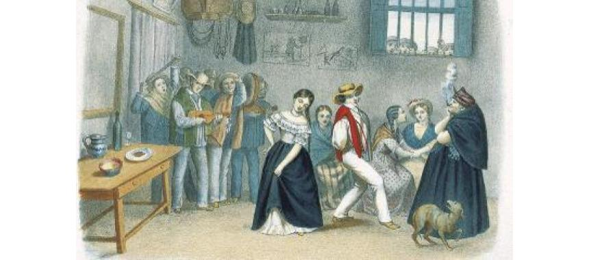 People dancing bambuco in the 19th century