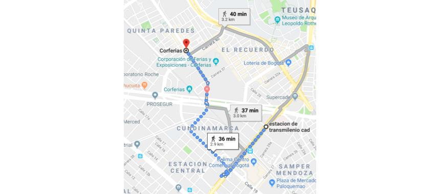 Map of how to get to  Bogotá's International Book Fair 2