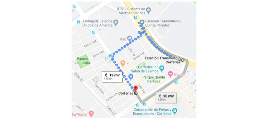 Map of how to get to Bogotá's International Book Fair