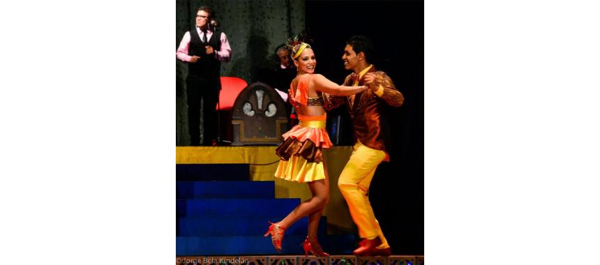 Couple dancing colombian salsa competitively