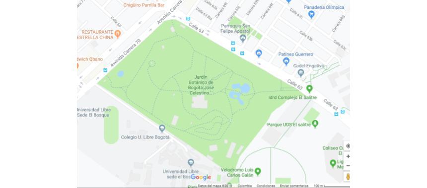 Location of Bogotá's Botanical Garden